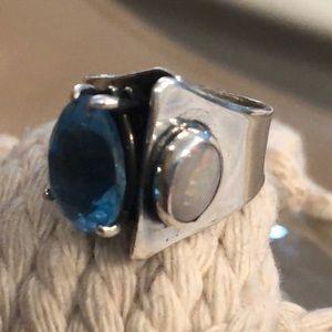 Blue Topaz, Opal & Sterling Ring - unique, artisan